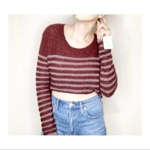 BP Sweater Boucle Striped Fuzzy Burgundy & Blue M